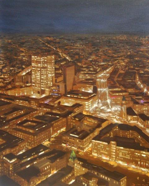 Peinture Ville nocturne 100 x 80 cm