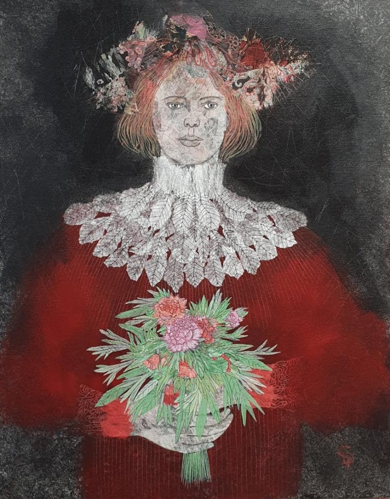 Cecile Duchene portrait roux peinture sur toile