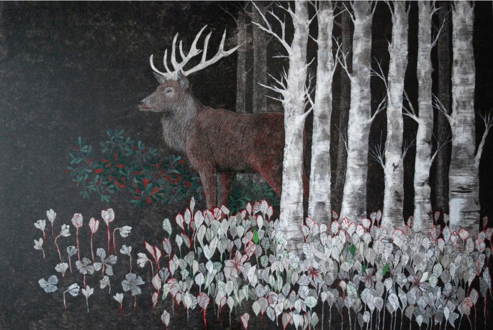 peinture sur toile de Cécile Duchene cerf noir
