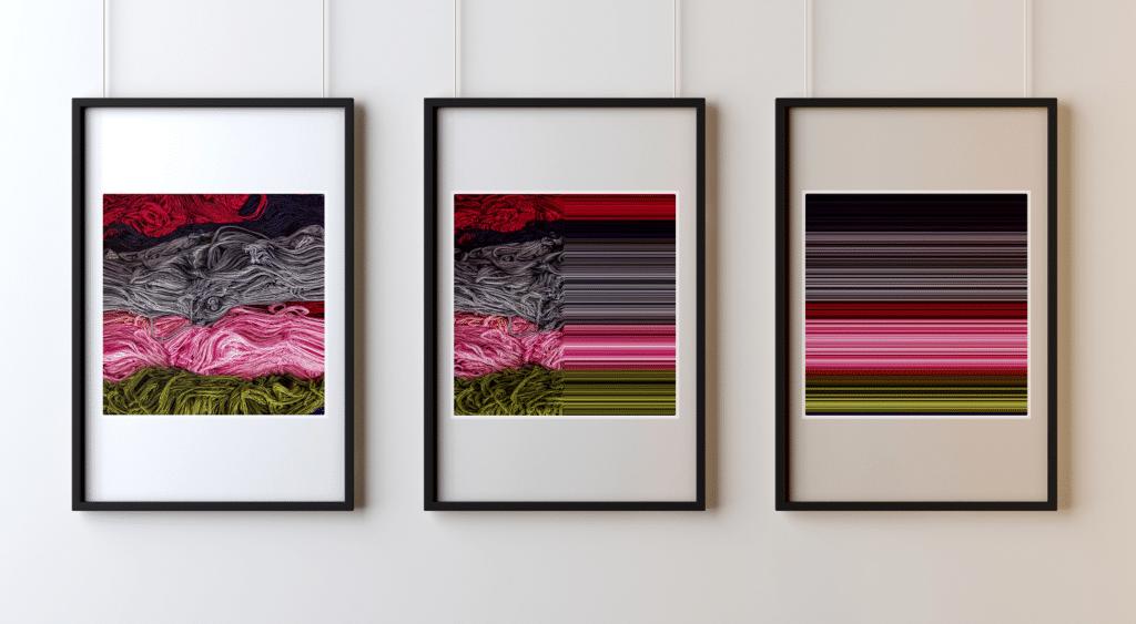 GERARD DUMORA - Triptyque Vert Rose Gris