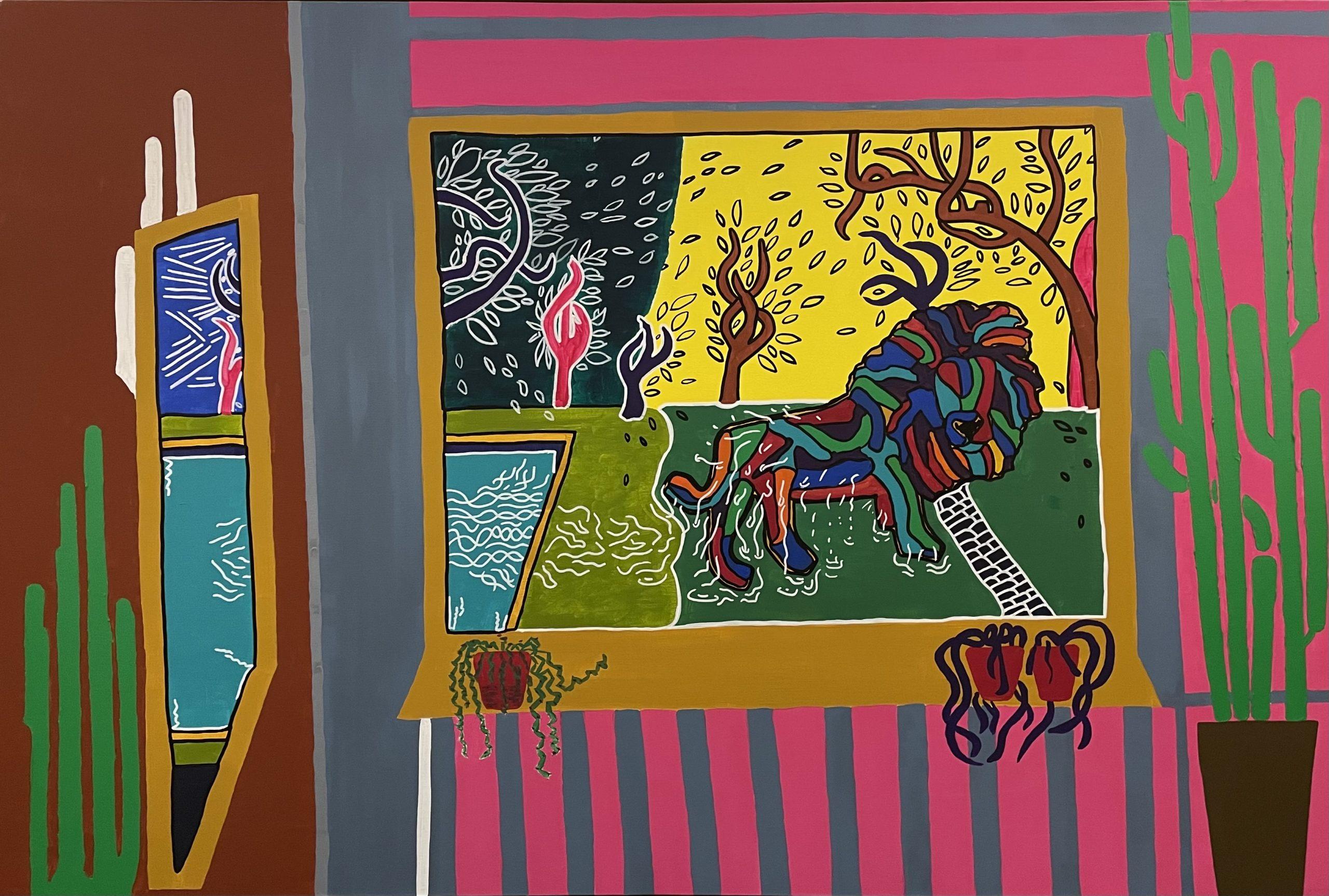 peinture sur toile Nitram ,Lion scène d'intérieure